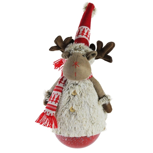 "23"" Tumbling ""Melvin the Moose"" with Red hat and Scarf Christmas Decoration"