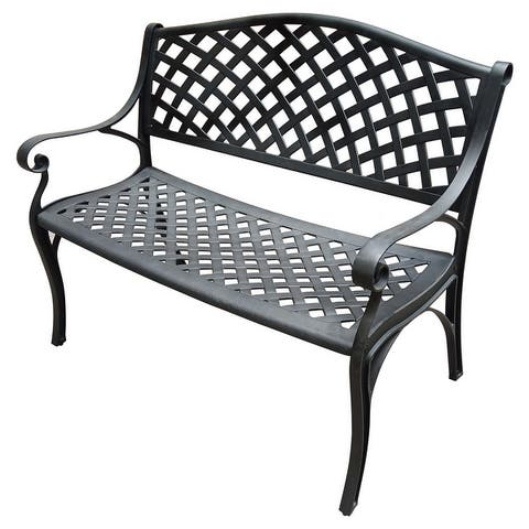 Outdoor Aluminum Modern Black Bronze Grey White Patio Bench Loveseat