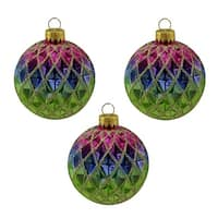 "3ct Green  Blue  Purple and Gold Diamond Design Glass Ball Christmas Ornaments 2.5"" (65mm)"