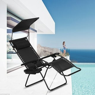 Folding Furniture Lounge Outdoor Pool Zero Gravity Deck Beach Chair Cup Holder