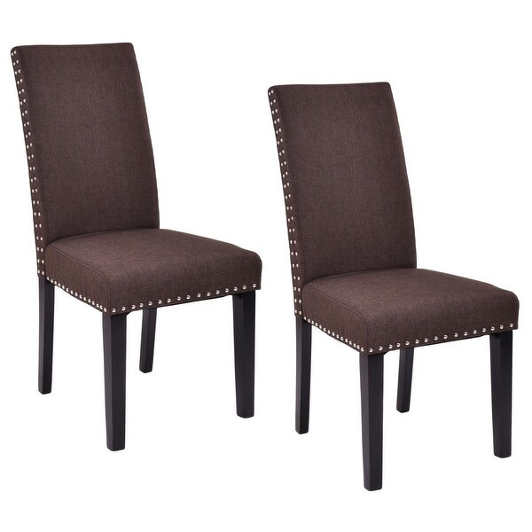 Kitchen Accent Furniture: Shop Costway Set Of 2 Dining Chairs Fabric Upholstered