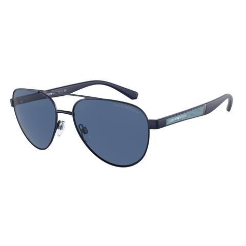Emporio Armani EA2105 301880 59 Matte Blue Man Pilot Sunglasses