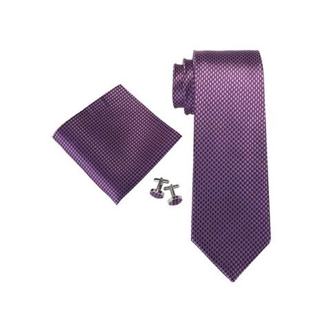 Men's Purple Solid 100% Silk Neck Tie Set Cufflinks & Hanky 18A84