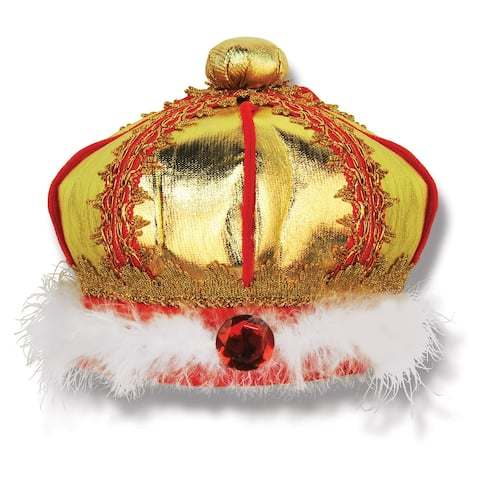 """Set of 6 Gold, Red and White Fabric Costume King's Crown with Feathers 7"""""""