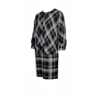 Ali Ro Women's Plaid Gauze Mini Dress - Black Multi