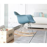 2xhome - Teal Modern Plastic Rocker Rocking Chairs Lounge Chair Nursery with Arm Wood Wire Leg