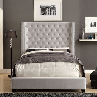 Link to Furniture of America Arun Contemporary Fabric Low Profile Panel Bed Similar Items in Bedroom Furniture
