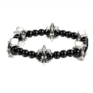 Saints Link Glossy Bead Bracelet Stainless Steel Shamballa Design Custom Mens