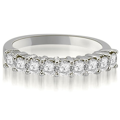0.90 cttw. 14K White Gold Round Diamond 9-Stone Prong Wedding Band