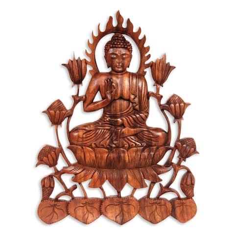 "Handmade Enlightened Buddha Wood Relief Panel (Indonesia) - 13.5"" H x 10.25"" W x 0.8"" D"