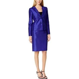Kasper Womens Skirt Suit Shantung Beaded Trim