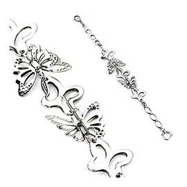 Stainless Steel Oval Link 3D Butterfly Bracelet (6 mm) - 8.25 in