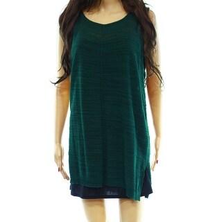 Joan Vass NEW Green Scoop-Neck Size 3 Junior Tank Cami Knit Top