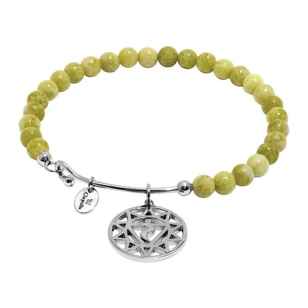 Chrysalis 'Solar Plexus' Natural Lemon Jade Agate Charm Bangle Bracelet in Rhodium-Plated Brass - Green