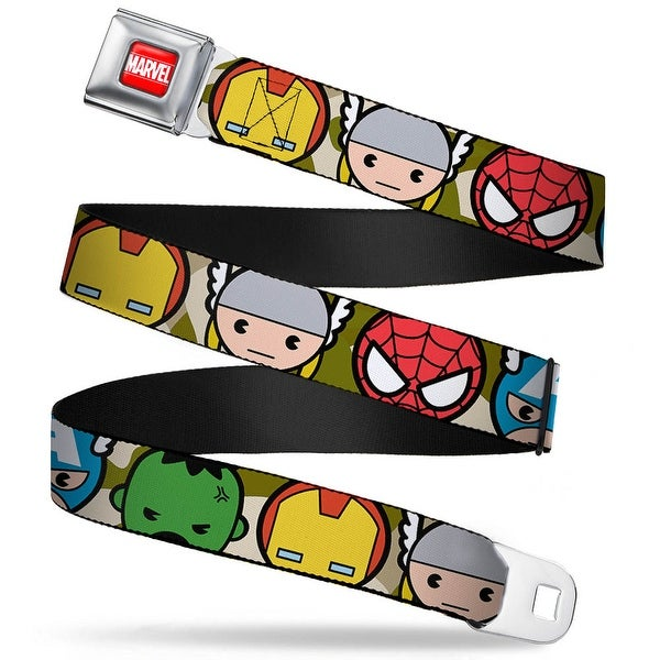 Marvel Universe Marvel Full Color Red White Kawaii Avengers Faces Close Up Seatbelt Belt