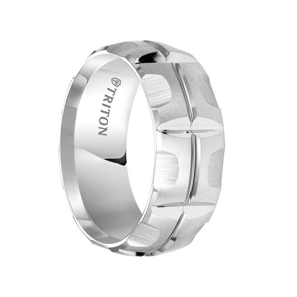 MADDOX Domed White Tungsten Carbide Wedding Band with Matrix Style Brushed Finish and Polished Cuts by Triton Rings - 9 mm