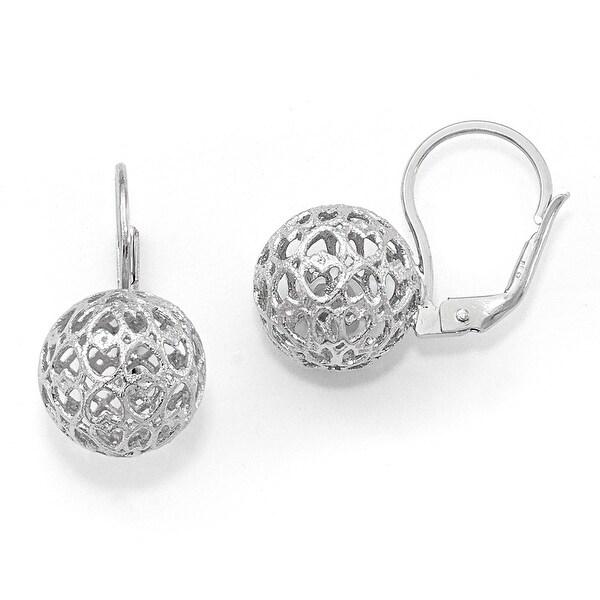 Italian Sterling Silver Heart Ball Leverback Earrings