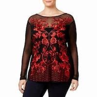 INC Black Women's Size 3X Plus Embroidered Floral Print Blouse