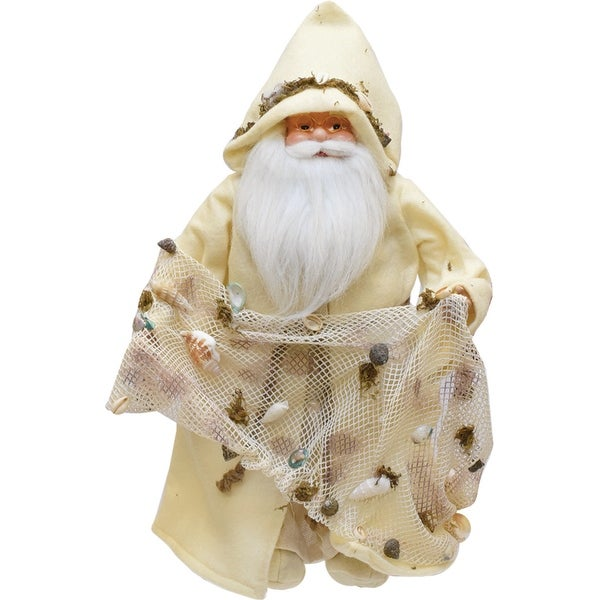 """16"""" Nautical Inspired Santa Claus Holding a Net with Shells and Seaweed - WHITE"""