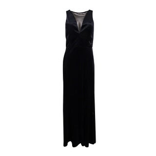 Nightway Women's Plunging Illusion Velvet Gown (3 options available)