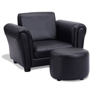 Black Kids Single Armrest Couch Sofa with Ottoman