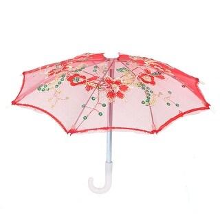 Unique Bargains Flower Pattern Sequin Accent Wedding Party Decoration Mini Lace Children Umbrella Red