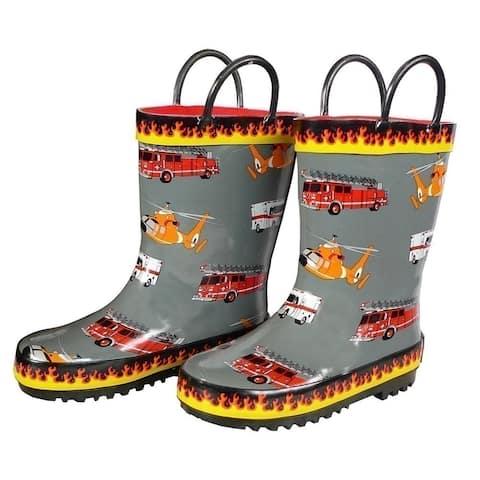 Foxfire Boys Grey Fire Trucks Printed Rubber Boots 5-10 Toddler