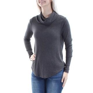 ULTRA FLIRT Womens New 1366 Gray Textured Long Sleeve Tunic Top S Juniors B+B