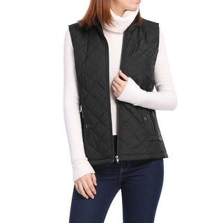 Link to Women's Front Zip Up Stand Collar Mock Pockets Quilted Padded Vest Similar Items in Suits & Suit Separates