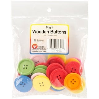 Bright Wooden Buttons Assorted Colors-30mm 25/Pkg - Red