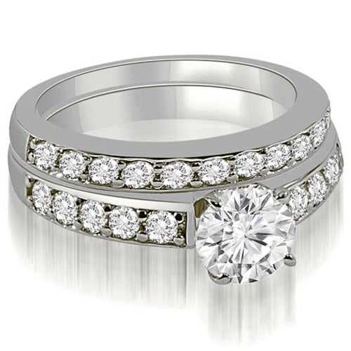 1.65 cttw. 14K White Gold Round Cut Diamond Bridal Set
