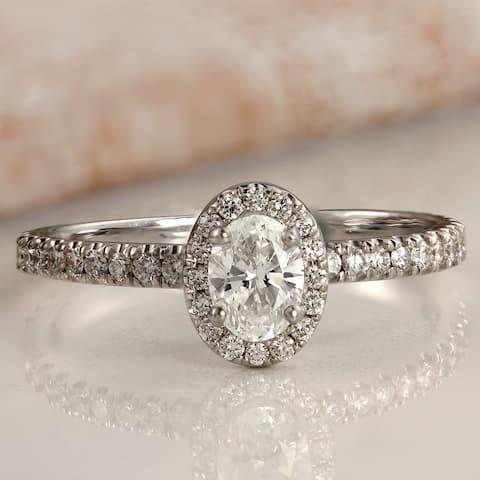 Auriya Platinum 1ctw Oval-cut Halo Diamond Engagement Ring