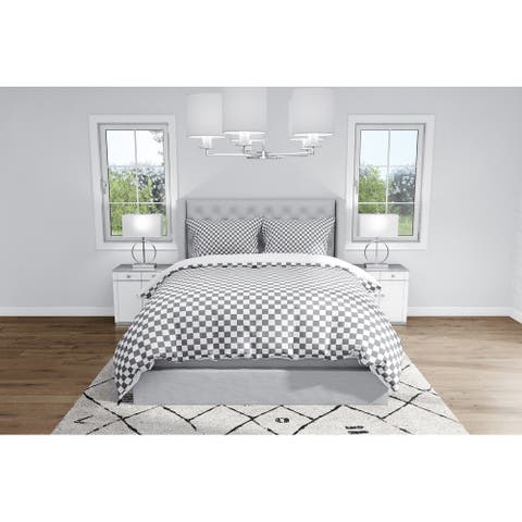 CHECKER BOARD CHARCOAL Duvet Cover By Kavka Designs