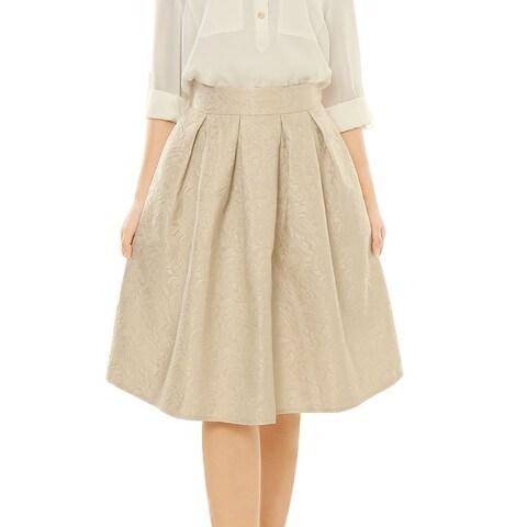Allegra K Woman High Waist Floral Jacquard Pleated A Line Skirt