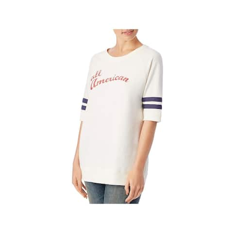 Alternative Womens Pullover Top Ribbed Trim Slogan - Ivory - L
