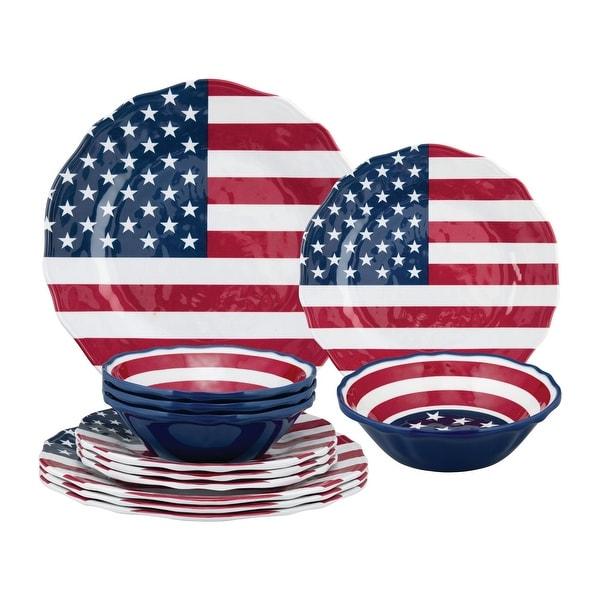 UPware 12-Piece American Flag Melamine Dinnerware Set