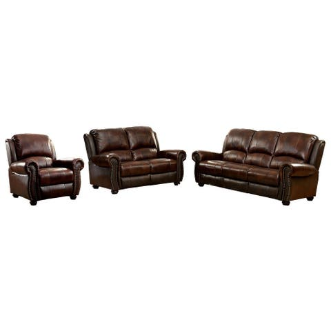 Furniture of America Drow Transitional Brown Leather 3-piece Sofa Set