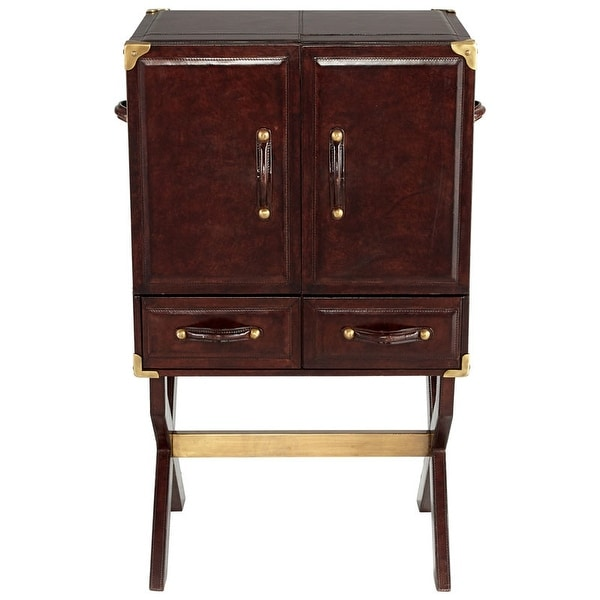 "Cyan Design Hutch Cabinet Hutch 41"" Tall Wood and Leather Cabinet Made - Brown"