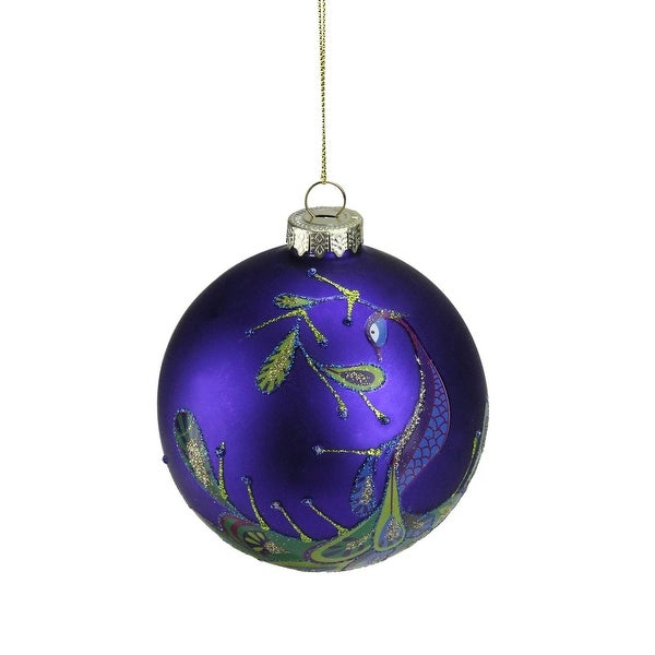 "4"" Regal Peacock Blue Purple Glass Ball Christmas Ornament"