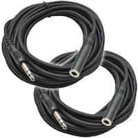 """Seismic Audio - 2 Pack of 25' Headphone Extender Cable 1/4"""" TRS Male 1/4"""" Female"""