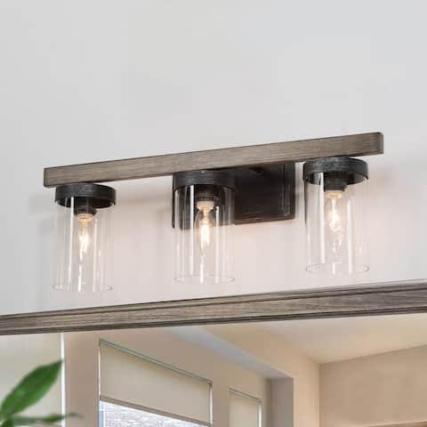 Modern Farmhouse 3-light Linear Bathroom Vanity Lights Rustic Glass Wall Sconces - L 21.7'' * W 5.5'' * H 8.5''