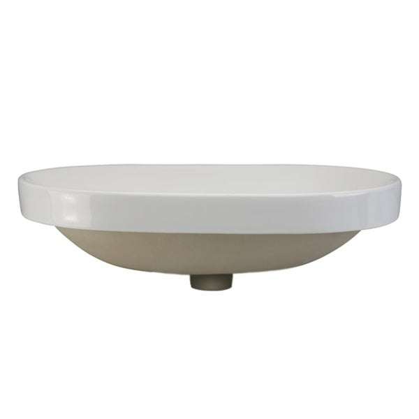 """DecoLav 1456 Ava 23-3/8"""" Oval Semi Recessed Vitreous China Lavatory Sink with Overflow - ceramic white"""