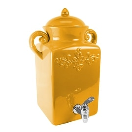 American Atelier Square Tuscan Ceramic Beverage Dispenser, Golden Glow