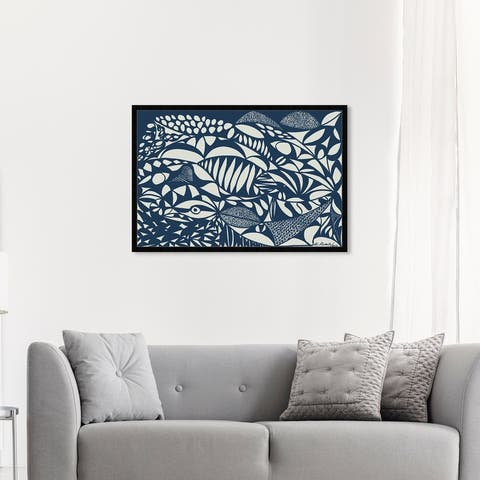 Oliver Gal 'Manuel Roman - Sea' Abstract Wall Art Framed Print Shapes - Blue, White