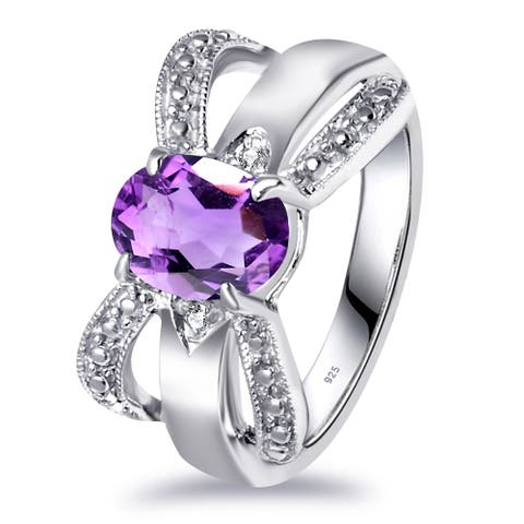 Amethyst, Diamond Sterling Silver Oval, Round Promise Ring by Essence Jewelry
