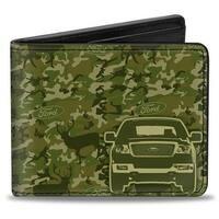 Ford Truck + Works Hard, Plays Harder. Deer Hunter Camo Olive Bi Fold Wallet - One Size Fits most