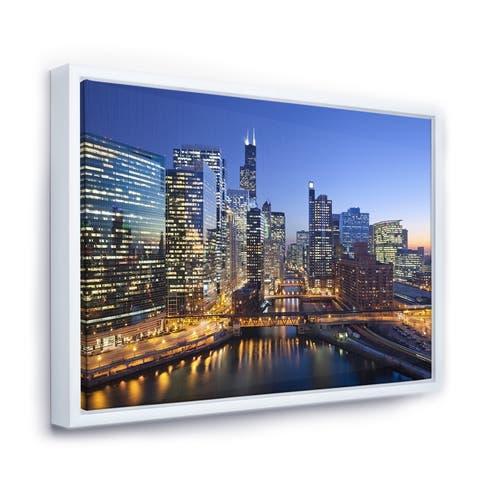 Designart 'Chicago River with Bridges at Sunset' Cityscape Framed Canvas Print