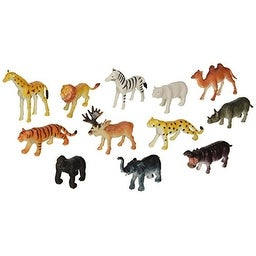 "Rhode Island Novelty 12 Little Zoo Animals Toy Figure, 2.5"""