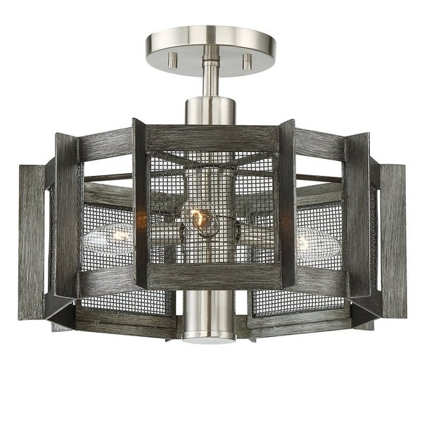 """Designers Fountain 89311 Baxter 3 Light 16"""" Wide Semi-Flush Ceiling Fixture with Black Mesh Shade"""