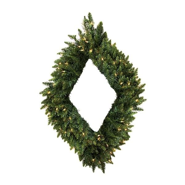 """42"""" Pre-Lit Camdon Fir Diamond Shaped Artificial Christmas Wreath - Clear Lights - green"""
